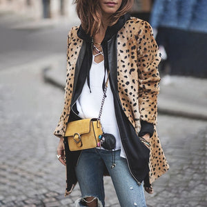 Casual Long Sleeve Leopard Print Loose Jacket