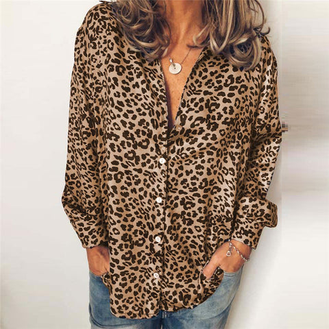 Sexy Fashion Deep-V Leopard Blouse