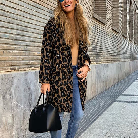 Fashion Leopard Print Long Sleeve Overcoat