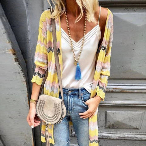 Casual Striped Contrast Knit Cardigan