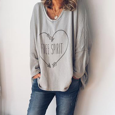 Casual Round Neck Long Sleeve Printed Colour Loose Medium T-Shirt