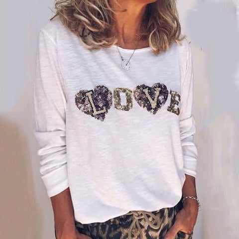 Beach Round Neck Printed Color Long Sleeve T-Shirt