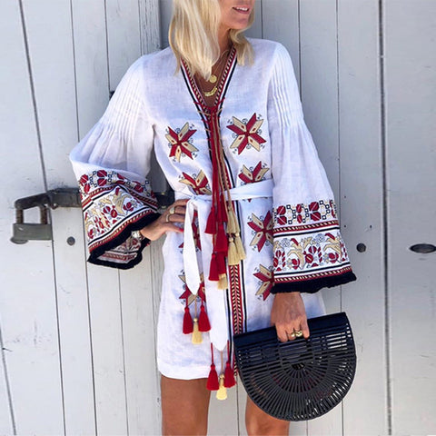 Ethnic Style Printed Flared Sleeve Lace-Up Dress