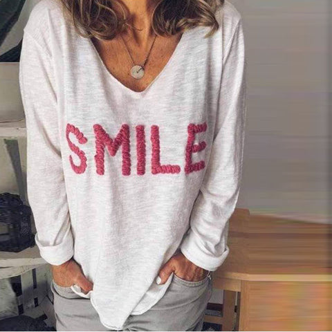 Casual V-Neck Letter Embroidered Long-Sleeved T-Shirt
