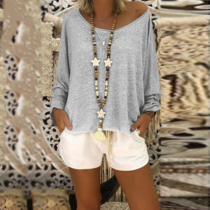 Casual Loose Low Round Neck Pure Colour Sweater