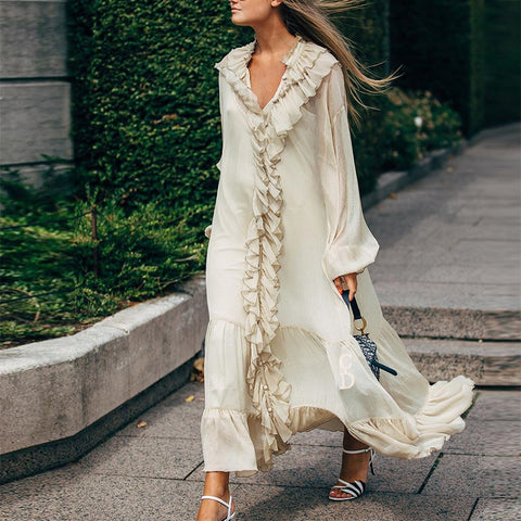 Elegant V Neck Ruffled Long Sleeve Loose Dress