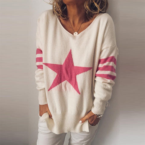Modern V Neck Printed Colour Splicing Loose Sweater