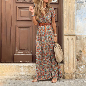 Bohemian V Neck Short Sleeve Printed Colour Dress