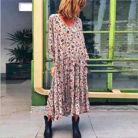 V-Neck Floral Elegant Casual Dress
