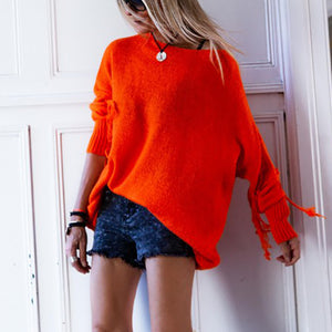 Brief Round Neck Knit Long Sleeve Pure Colour Sweater