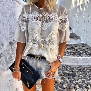 Casual Lace See-Through Round Neck Halflong Sleeves