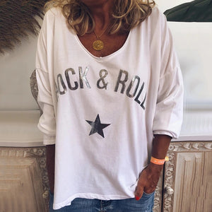Casual Loose Letters Star Printed Low Round Neck T-Shirt