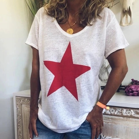 Casual Star Printed Short Sleeves Round Neck T-Shirt