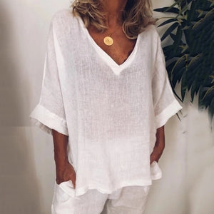 Casual V Neck Bell Sleeve Loose T-Shirt