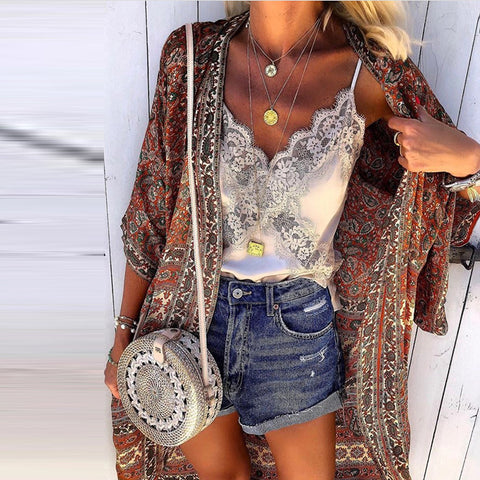 Casual Loose Paisly Printed Bracelet Sleeve Long Cardigan
