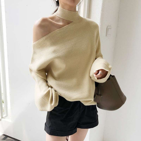 Fashion Shoulder Out Plain High Neck Sweaters