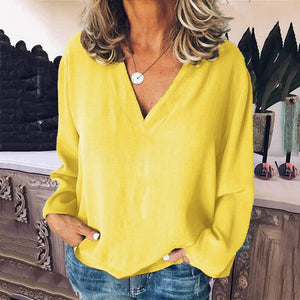 Fashion Casual V-Neck Long Sleeves Blouse
