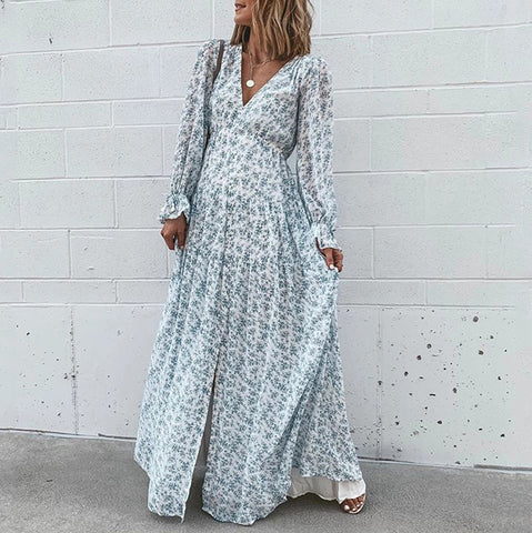 Beach Casual Style V Neck Printed Color Long Sleeve Dress