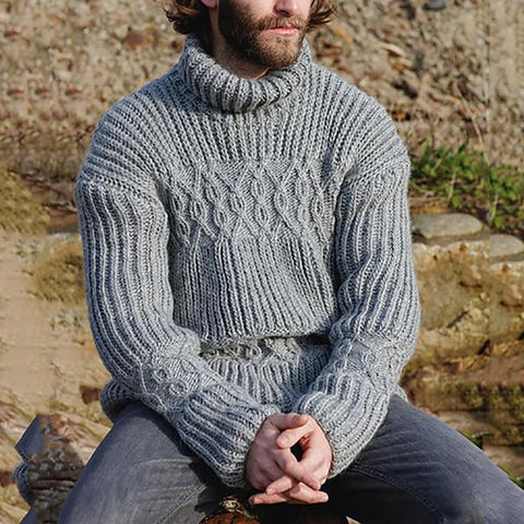 Casual Men'S High-Collar Solid-Color Knitted Sweaters