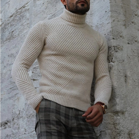 Simple Men'S Pure Color High-Collar Knitted Sweater