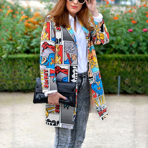 fashion cartoon print long sleeves suit collar midi coat