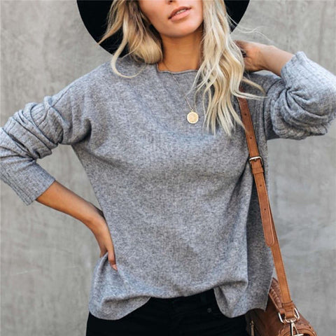 Round neck solid color knit top