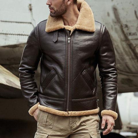 Men's fashion brown zipper plus velvet leather jacket