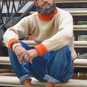Man's literary Individuality Color Matching Knitwear