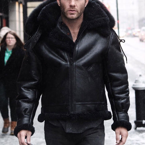 Men's Fashion Furry Black Leather Jacket