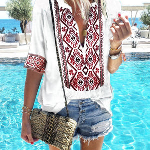 Ethnic Style Print V-Neck Casual T-Shirt Boho Short Sleeve Blouse