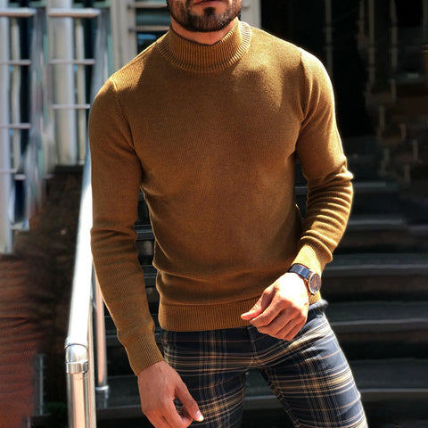 Men's Solid Color High-Collar Knitted Sweater