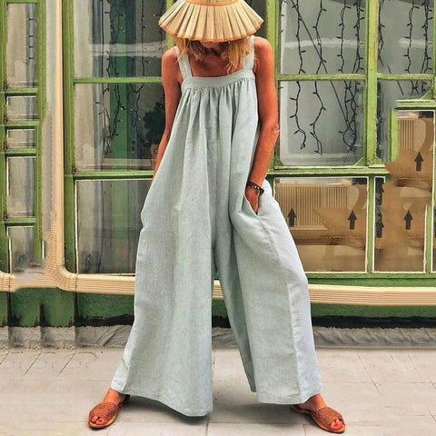 Casual Solid Sleeveless Spaghetti Jumpsuit Wide Leg Pants