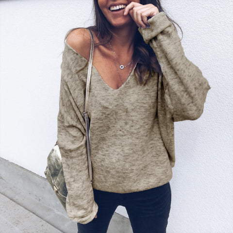 Sexy V-Neck Loose Casual Long-Sleeved T-Shirt