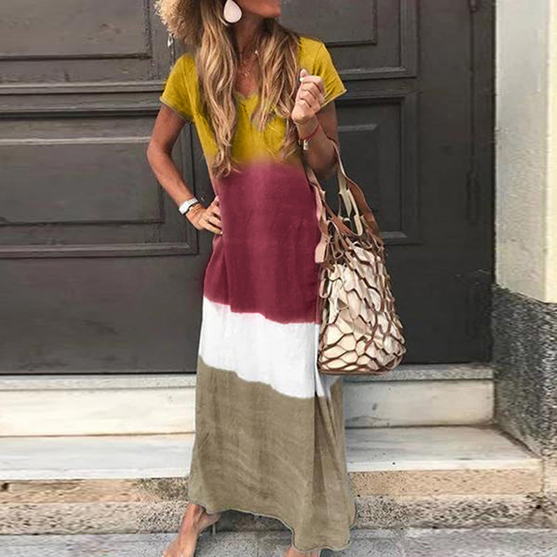 Simple hanging dyed v-neck loose short-sleeved dress