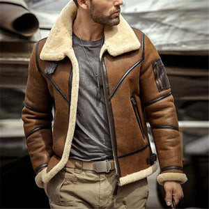 Men's Lapel Solid Color Zip Jacket