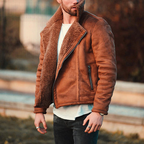 Stylish warm suede jacket