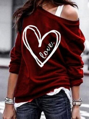 Casual One Shoulder Long Sleeve Printed Colour T-Shirt