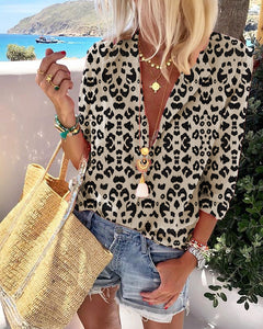 Women's Long Sleeve Leopard Suit Collar Long Sleeve Shirt