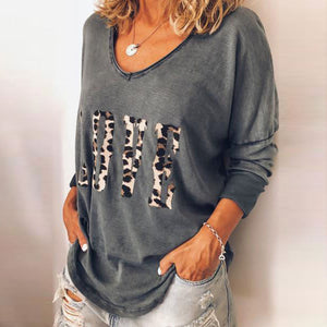 Casual Round Neck Long Sleeve Leopard Printed T-Shirt