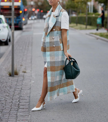 Casual Plaid Fold-Over Collar Sleeveless Overcoat