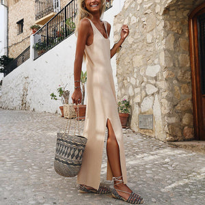 Stylish Casual Solid Color Side Slit Maxi Dress