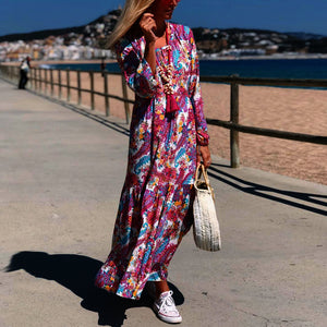 Fashion Print Stitching Long Sleeve Casual Maxi Dress