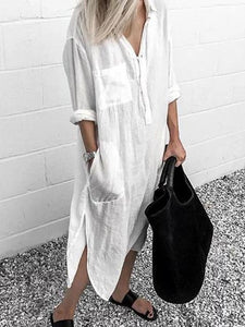 V Neck Casual Long Sleeve Cotton-Blend Maxi Dresses
