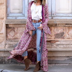 Casual Long Sleeve Printed Colour Cardigan