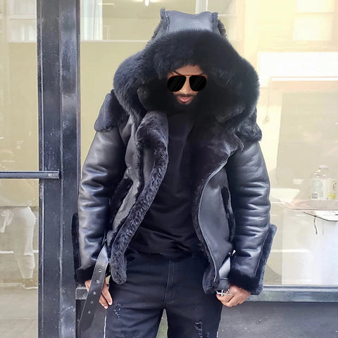 Men's fashion black hooded down jacket
