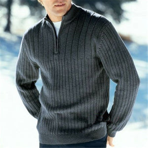 Men's Solid Color Stand Collar Pullover Sweater