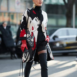 fashion printed v neck long sleeves midi coat
