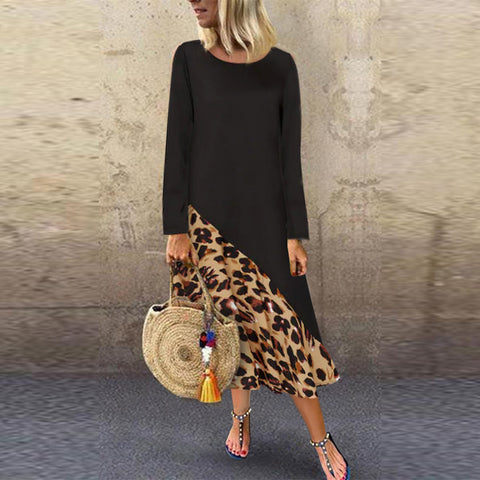 Leopard Print Round Collar Long Sleeves Dress