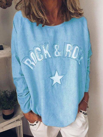 Round Neck Long Sleeve Letter Shirts