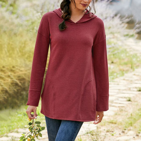 Casual Hooded Solid Color Loose Top